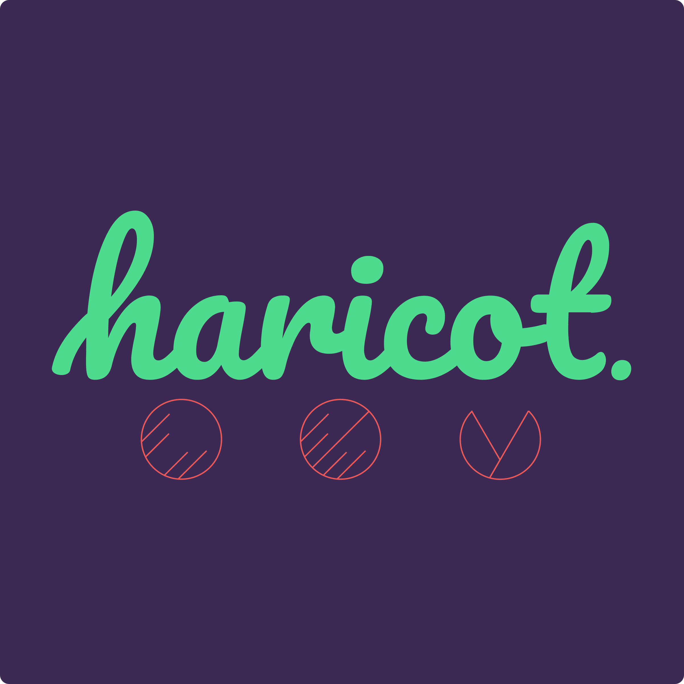 The Haricot combination mark, with sea green script and a pink line illustration of three dots, the last splitting open like a seed, on a purple background.