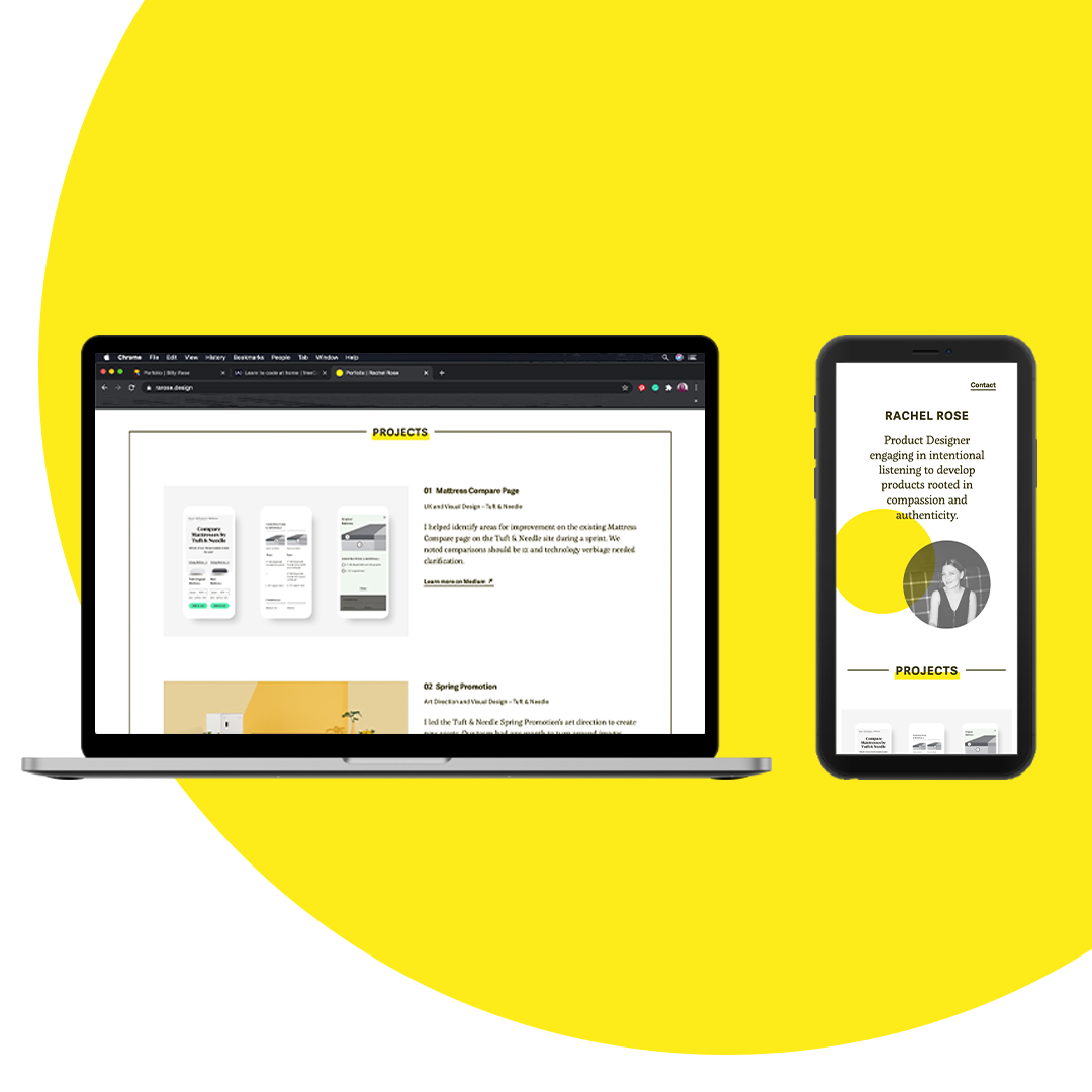 A laptop and smartphone showing different aspects of the portfolio homepage hover on a large yellow dot which goes out of frame to the upper right.